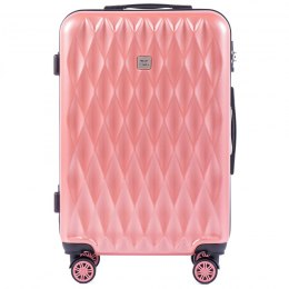 100 % POLICARBON / PC190, Middle size suitcase Wings M, Pink/ 5 years warranty