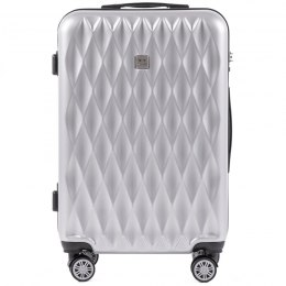 100 % POLICARBON / PC190, Middle size suitcase Wings M, Silver/ 5 years warranty