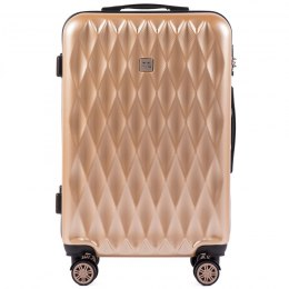 100 % POLICARBON / PC190, Middle size suitcase Wings M, Champagne/ 5 years warranty