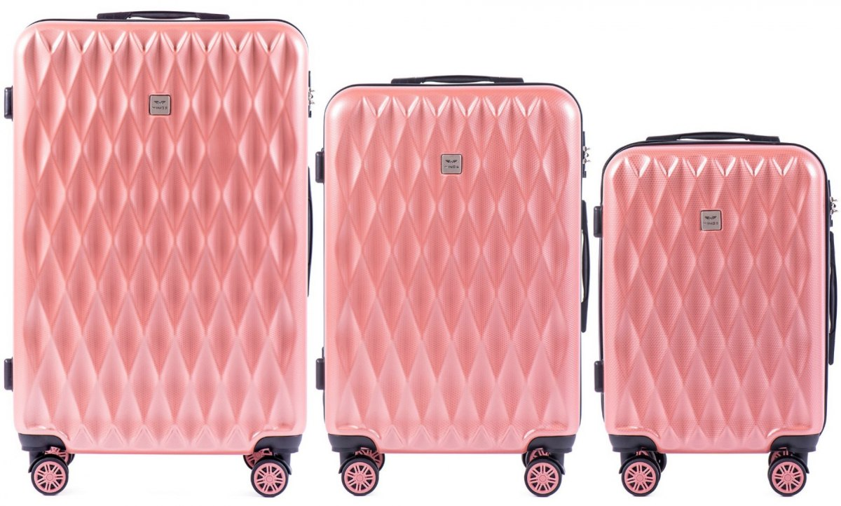 100 % POLICARBON / PC190, Sets of 3 suitcases L,M,S, Pink / 5 years warranty