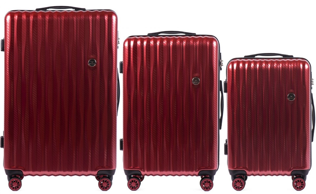 100 % POLICARBON / PC5223, Sets of 3 suitcases L,M,S, Wine red / 5 years warranty