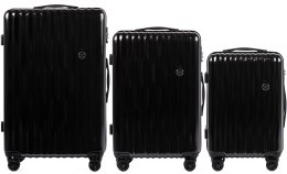 100 % POLICARBON / PC5223, Sets of 3 suitcases L,M,S, Black/ 5 years warranty