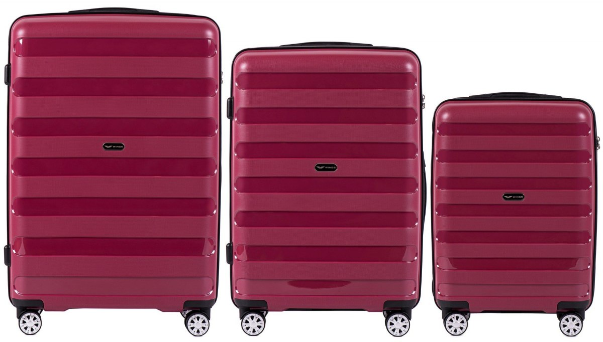 PP07, Luggage 3 sets (L,M,S) Wings, Red