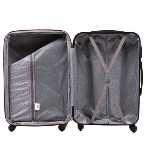 147, Middle size suitcase Wings M, Silver purple