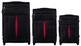 1601(2), Sets of 3 suitcases Wings 2 wheels L,M,S, Black