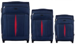 1601(2), Sets of 3 suitcases Wings 2 wheels L,M,S, Blue
