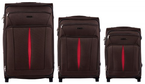 1601(2), Sets of 3 suitcases Wings 2 wheels L,M,S, Coffee