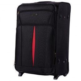 1601(2), Large soft travel suitcase 2 wheels Wings L, Black