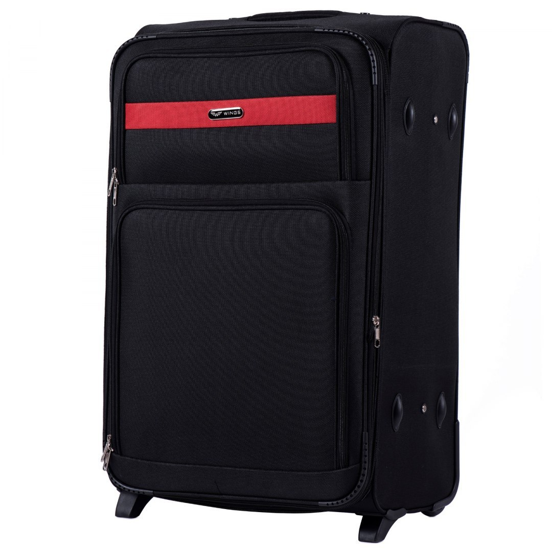 1605, Large soft travel suitcase 2 wheels Wings L, Black
