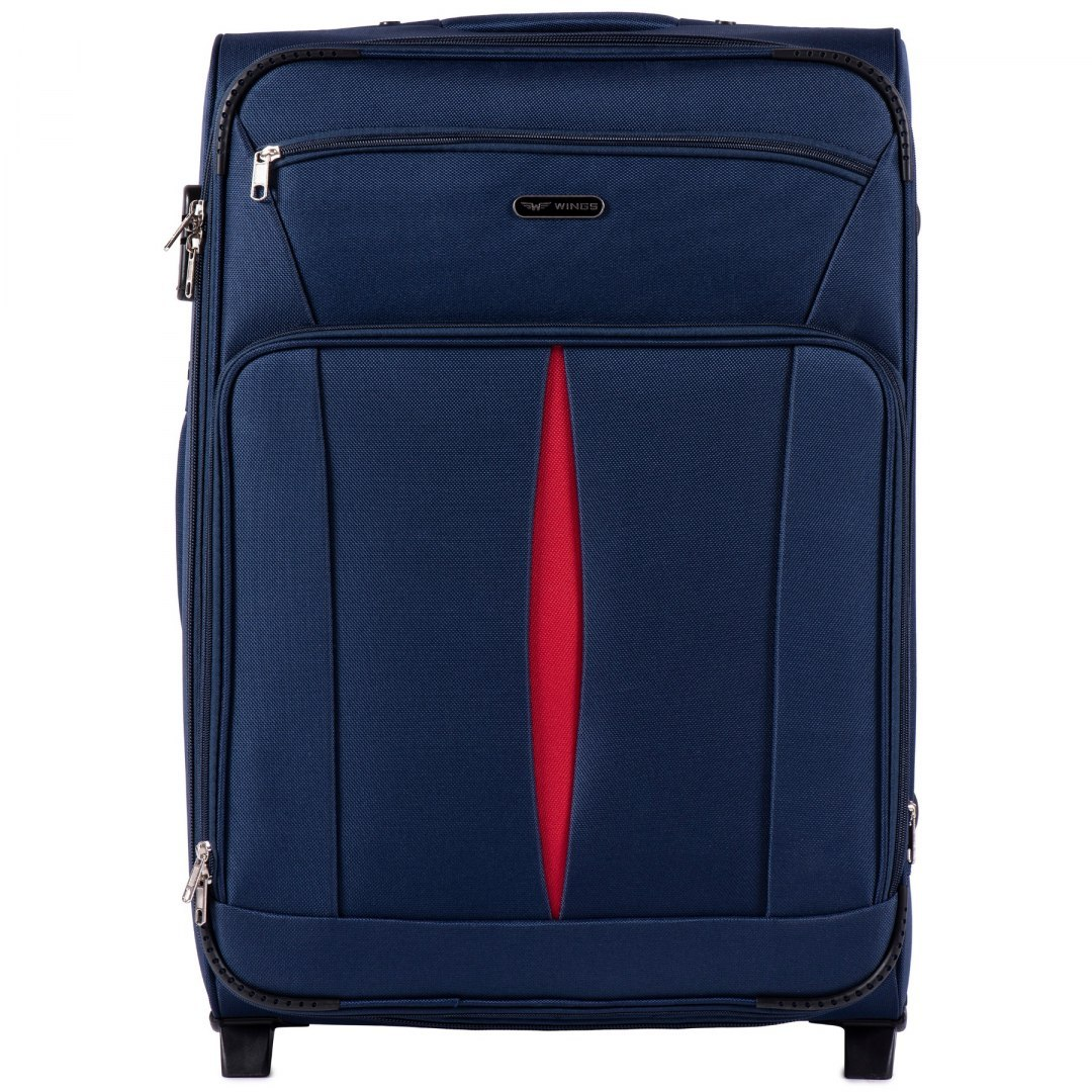 1601(2), Large soft travel suitcase 2 wheels Wings L, Blue