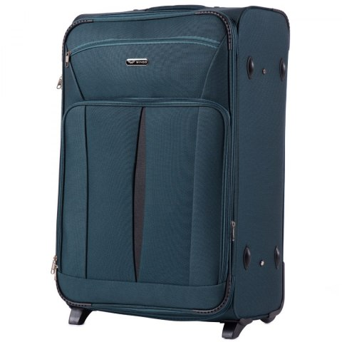 1601(2), Large soft travel suitcase 2 wheels Wings L, Green