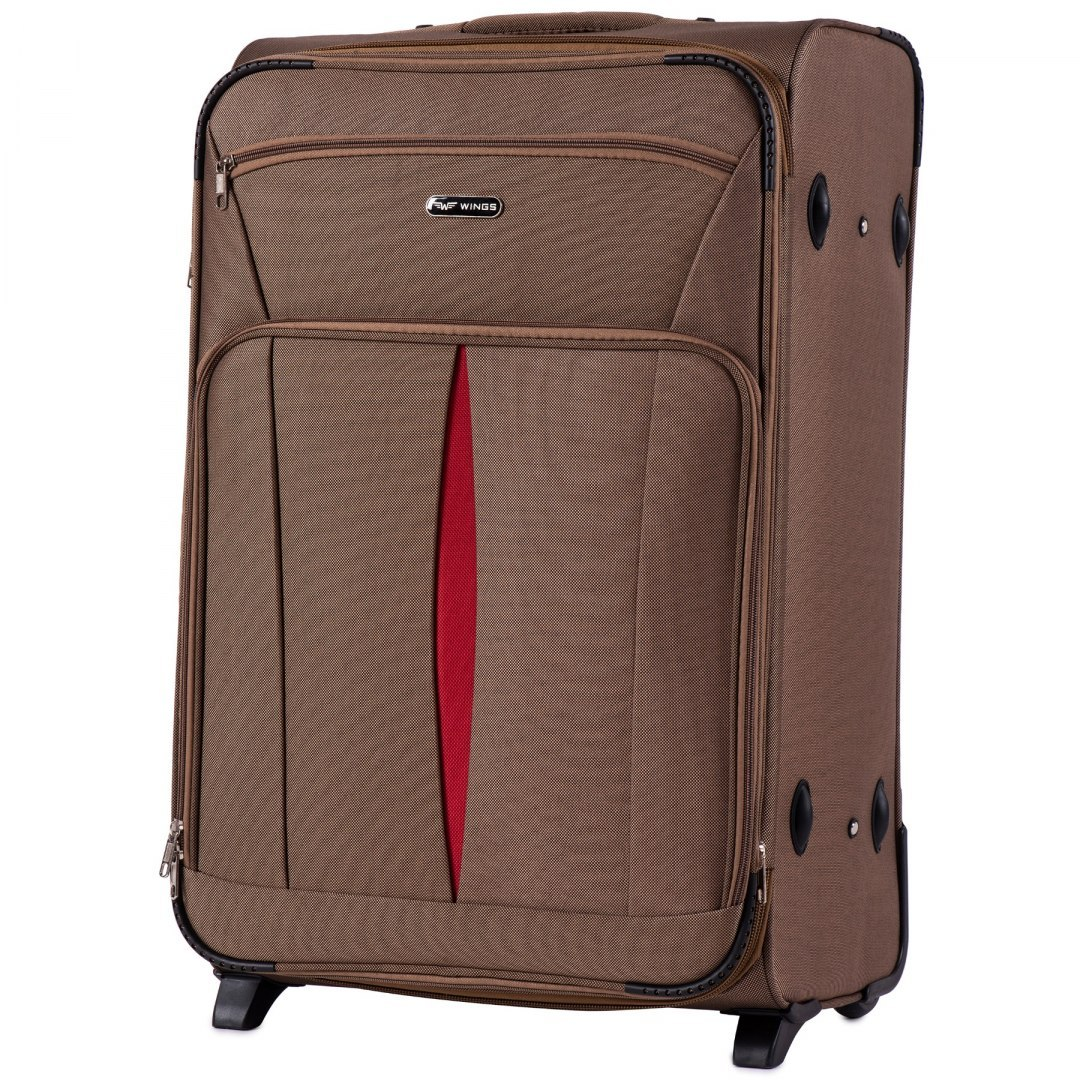 1601(2), Large soft travel suitcase 2 wheels Wings L, Yellow