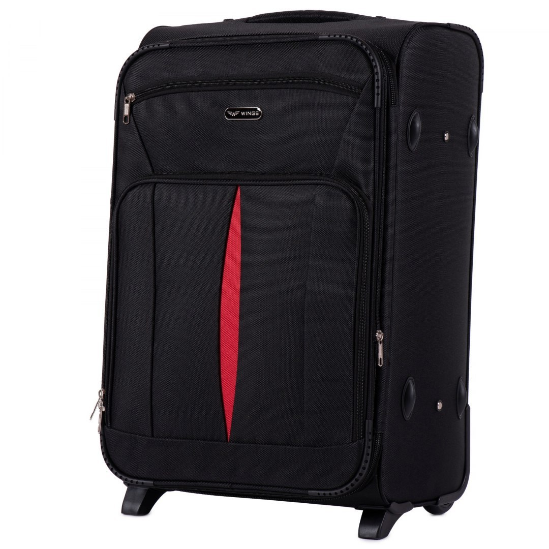 1601(2), Medium size soft travel suitcase 2 wheels Wings M, Black