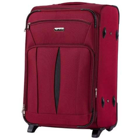 1601(2), Medium size soft travel suitcase 2 wheels Wings M, Red