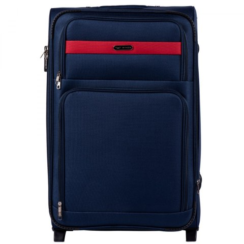 1605, Large soft travel suitcase 2 wheels Wings L, Blue