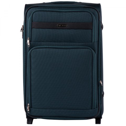 1605, Large soft travel suitcase 2 wheels Wings L, Green