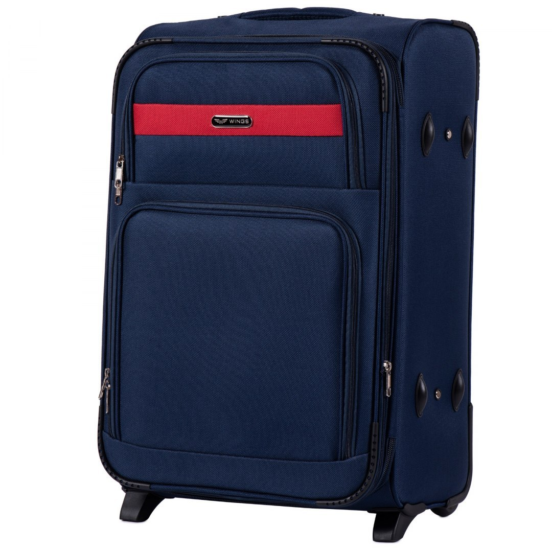 1605, Medium size soft travel suitcase 2 wheels Wings M, Blue