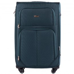214 (2), Large soft travel suitcase 2 wheels Wings L, Black