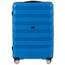 PP07, Large travel suitcase Wings L, Blue - Polypropylene