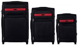 1605, Sets of 3 suitcases Wings 2 wheels L,M,S, Black