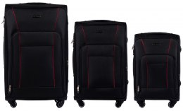 1609, Sets of 3 suitcases Wings 4 wheels L,M,S, Black