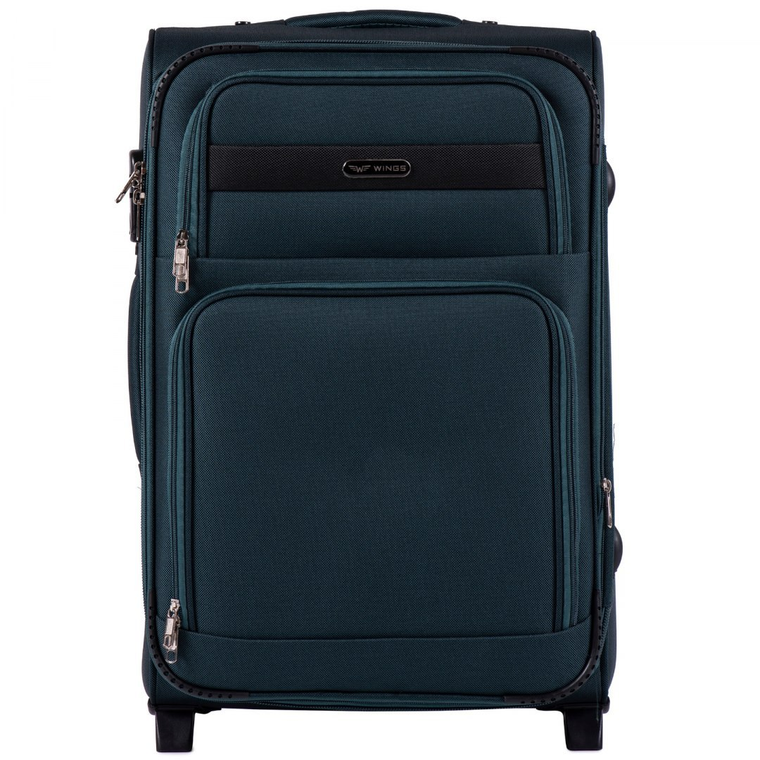 1605, Medium size soft travel suitcase 2 wheels Wings M, Green