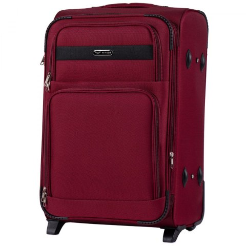 1605, Medium size soft travel suitcase 2 wheels Wings M, Red