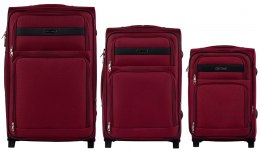 1605, Sets of 3 suitcases Wings 2 wheels L,M,S, Red