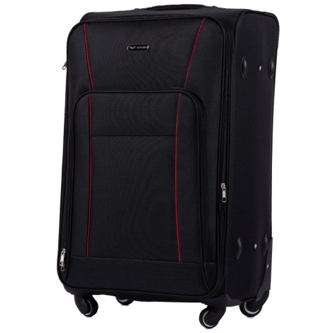 1609, Large soft travel suitcase 4 wheels Wings L, Black