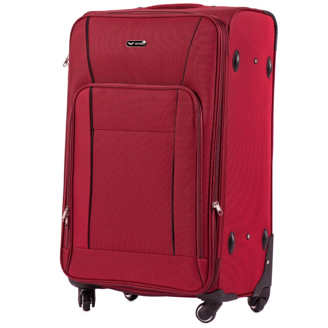 1609, Large soft travel suitcase 4 wheels Wings L, Red