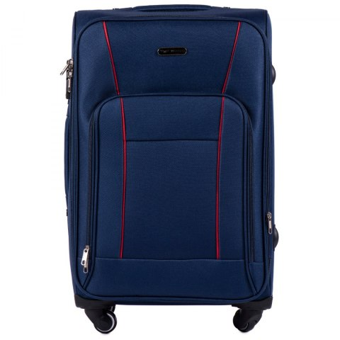 1609, Medium size soft travel suitcase 4 wheels Wings M, Blue