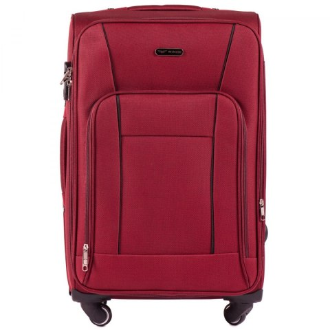 1609, Medium size soft travel suitcase 4 wheels Wings M, Red
