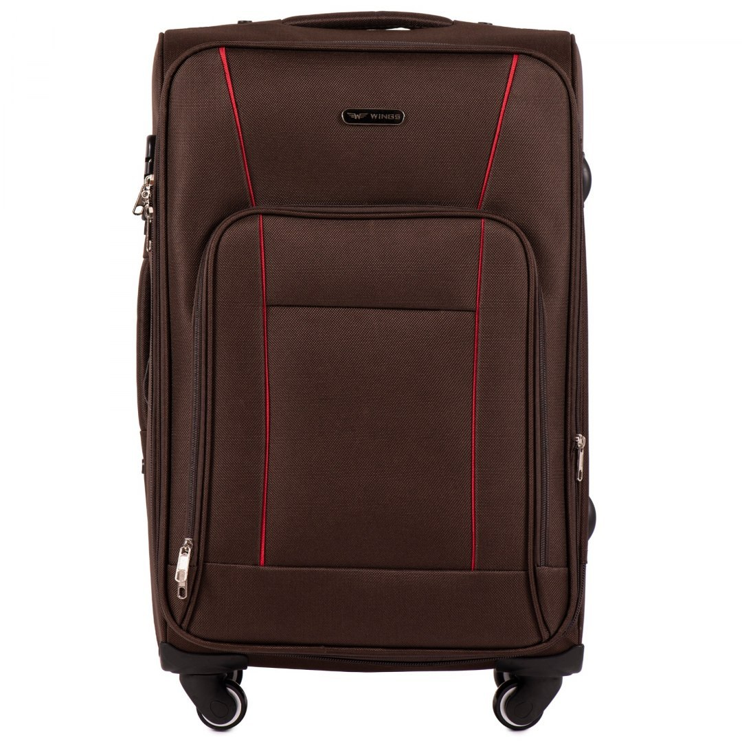 1609, Medium size soft travel suitcase 4 wheels Wings M, Coffee