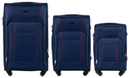 1609, Sets of 3 suitcases Wings 4 wheels L,M,S, Blue