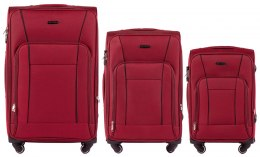 1609, Sets of 3 suitcases Wings 4 wheels L,M,S, Red