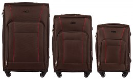 1609, Sets of 3 suitcases Wings 4 wheels L,M,S, Coffee