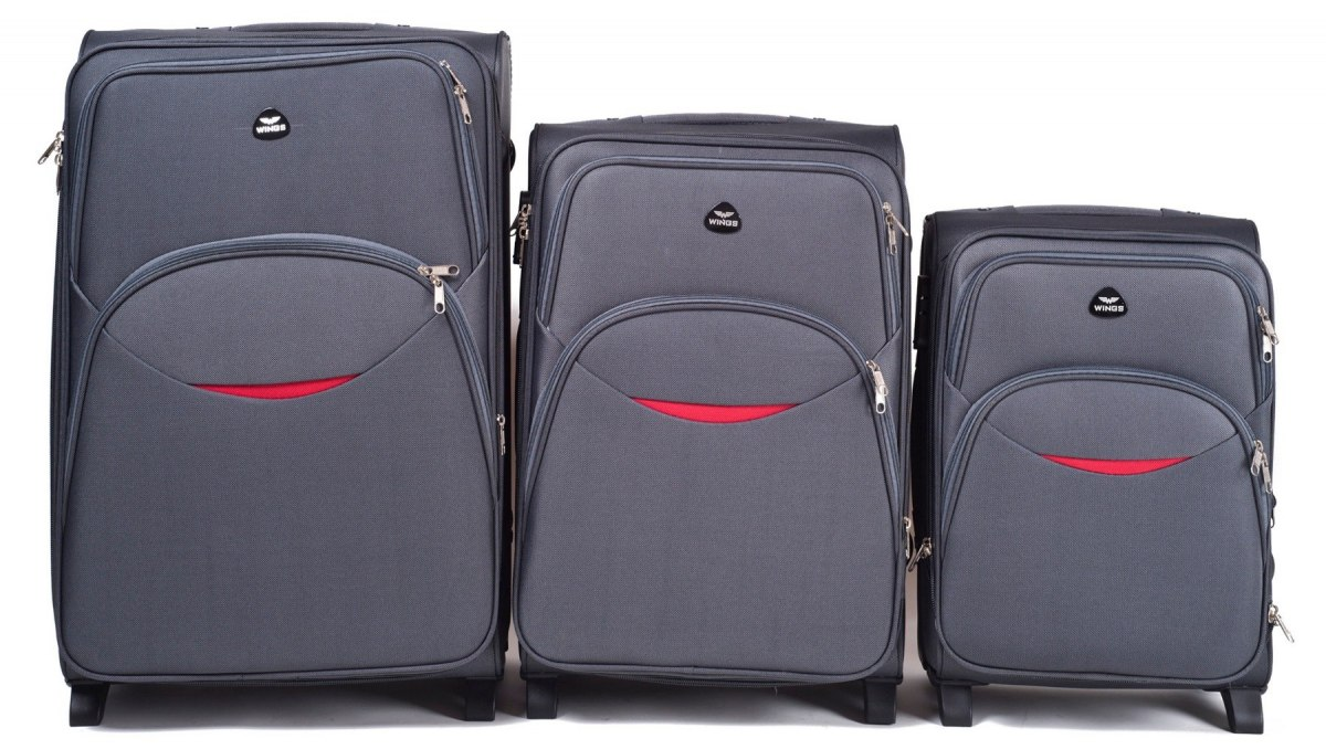 1708(2), Sets of 3 suitcases Wings 4 wheels L,M,S, D. Grey