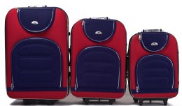 A801, Set of 3 suitcases (L,M,S), Red/Blue