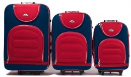 A801, Set of 3 suitcases (L,M,S), Blue/Red