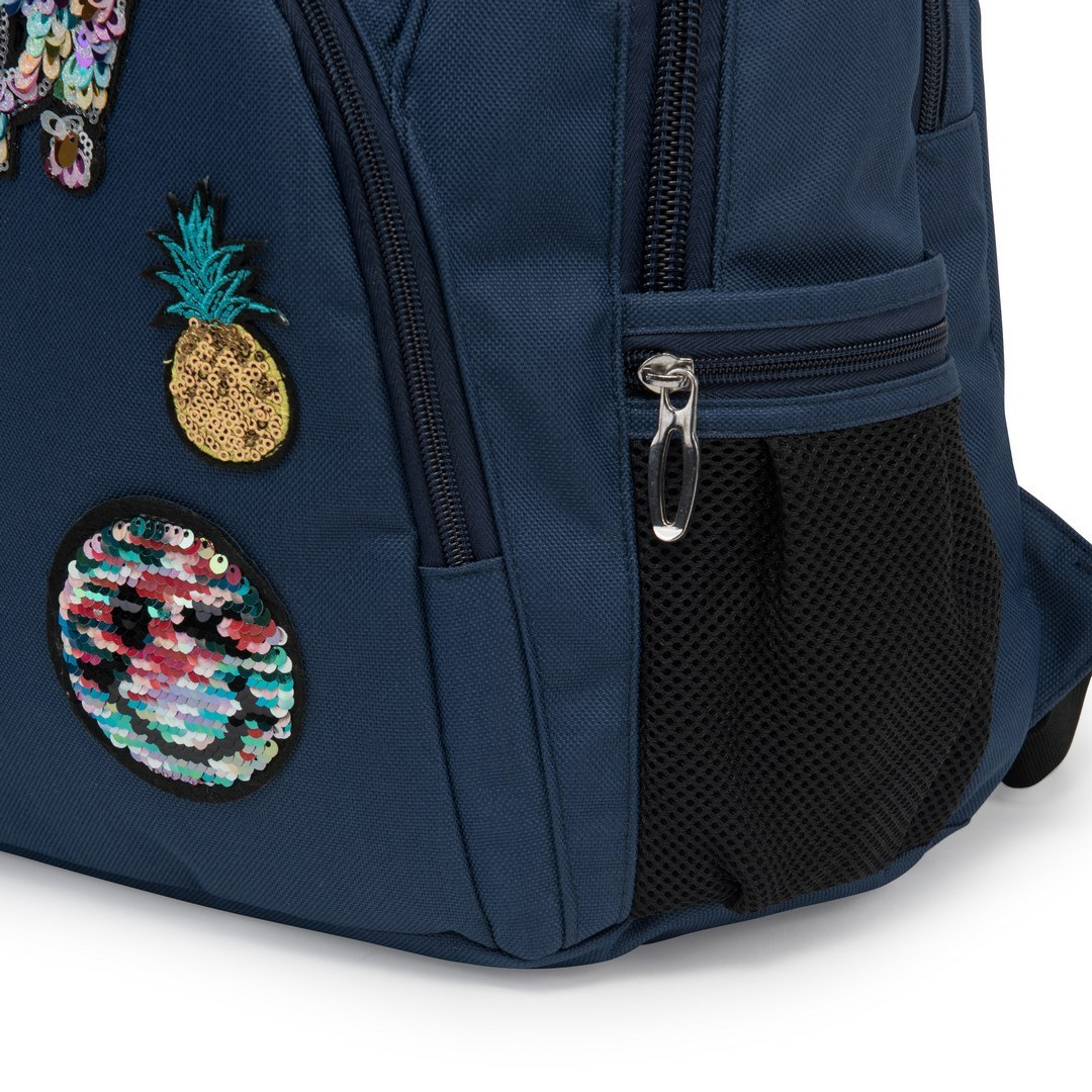 SCHOOL BACKPACK PLUS PENCIL PATCHES BLUE