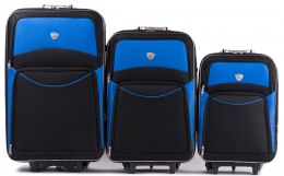 102, Set of 3 suitcases (L,M,S), Black/Blue