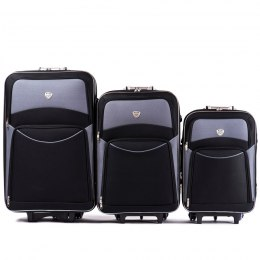 102, Set of 3 suitcases (L,M,S), Black/Grey