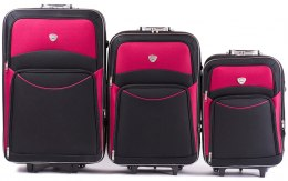 102, Set of 3 suitcases (L,M,S), Black/Red