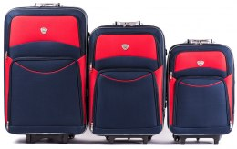 102, Set of 3 suitcases (L,M,S), Blue/Red
