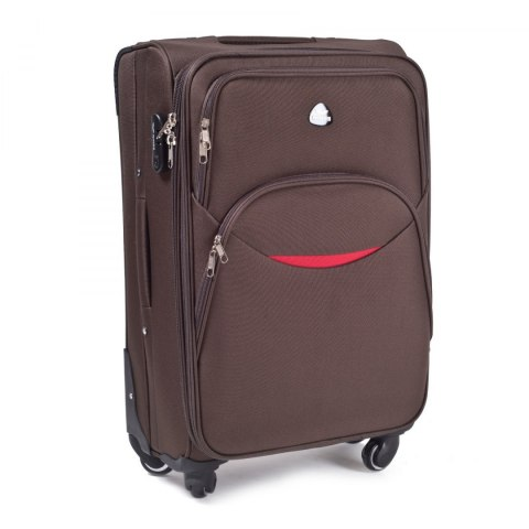 1708(4), Large soft travel suitcase 4 wheels Wings L, Coffe