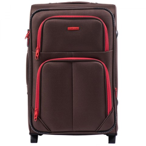 214 (2), Medium soft travel suitcase 2 wheels Wings M, Coffe