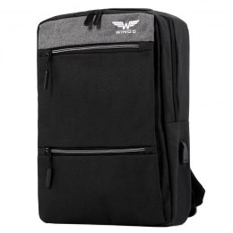 BP30-01, Travel backpacky with USB Wings, Black