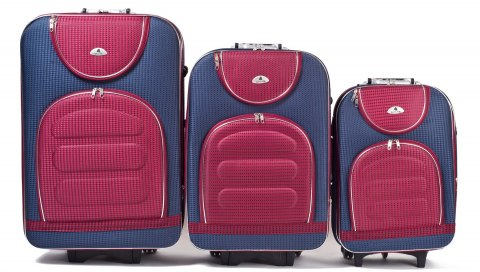 C801, Set of 3 suitcases (L,M,S), Blue/Red
