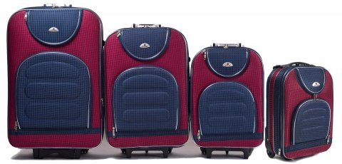 C801, Set of 4 suitcases (L,M,S,XS), Red/Blue
