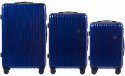 100 % POLICARBON / PC5223, Sets of 3 suitcases L,M,S, Blue/ 5 years warranty